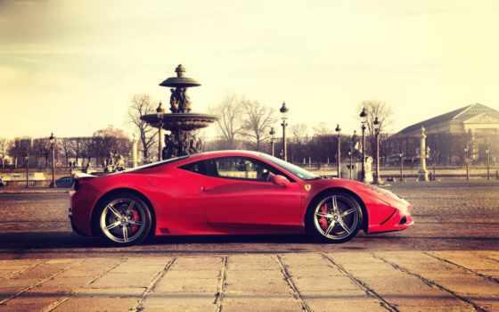 ferrari, car, город, free, суперкар, red,