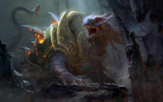 дракон, fantasy, art, черепаха, гигантская, доспех, скалы, шипы, snake, tortoise,