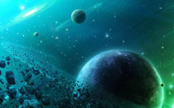космос, зелёный