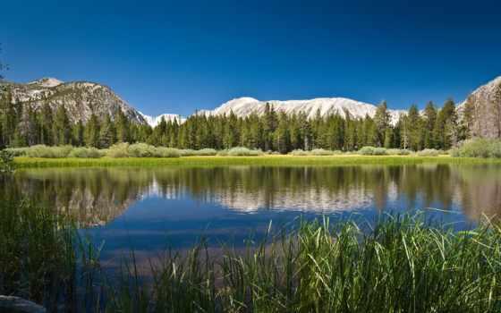 mountain, lake