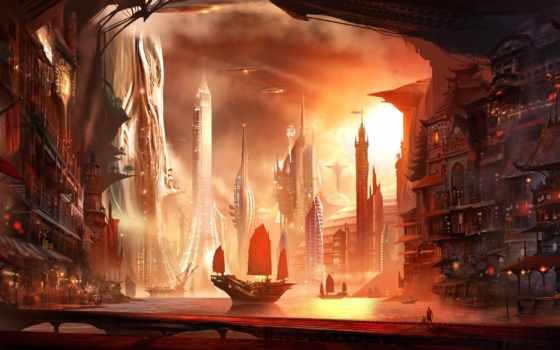 art, город, корабль