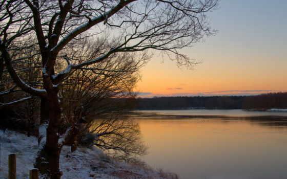 холод, озеро, вечер, яркий, закат, сзади, природа, photos, vonette, trees,