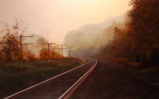дорога, железная, рельсы, лес, осень, trees, туман, утро, природа,
