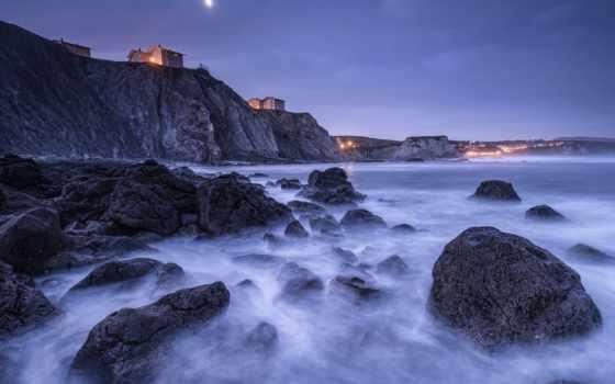скалы, испания, ночь
