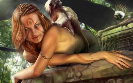 sexy, обезьяна, девушка,