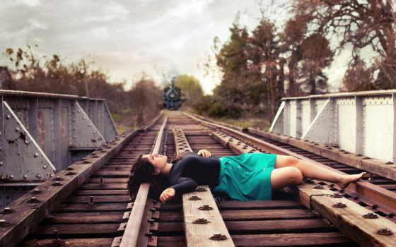 девушка, железная, дорога, поезд, железной,