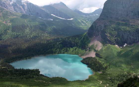 горы, озеро, phong, tranh, cánh,