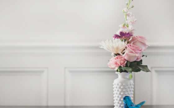 cvety, ваза, букет, птица