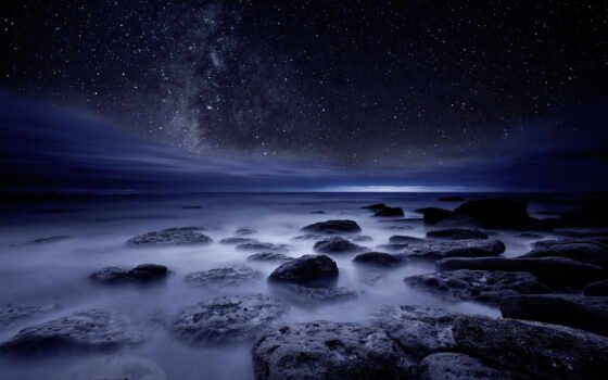 море, ночь, star, starry, mac, камень, девушка