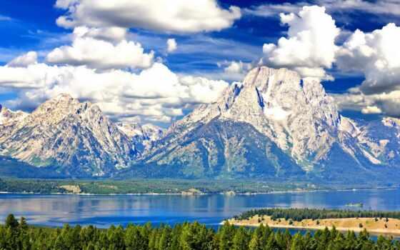air, national, park, небо, фотообои, grand, teton, мяч, гора, природа, лес