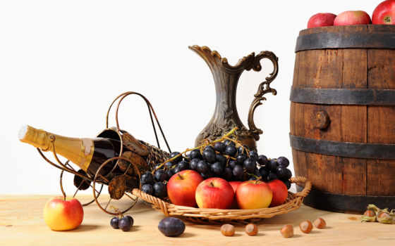 яблоки, фрукты, кувшин, корзинка, бочонок, виноград, орехи, шампанское, картинка,