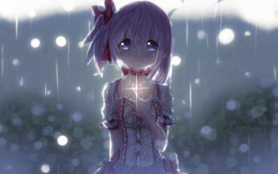 аниме, девушки, грустные,