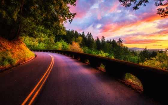 закат, дорога, небо
