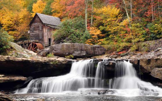 mill, house, водяная, водопад, западная, дома, осень, водяное,