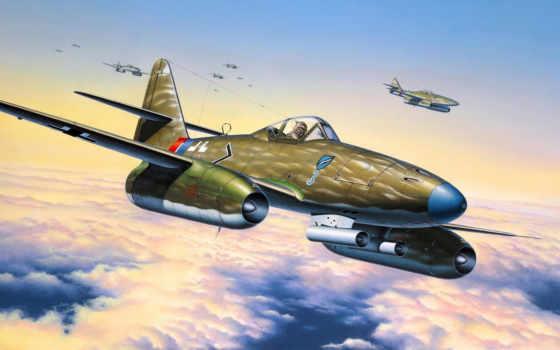 реактивный, german, истребитель, messerschmitt, initial, бомбардировщик, самолёт, мире, world,