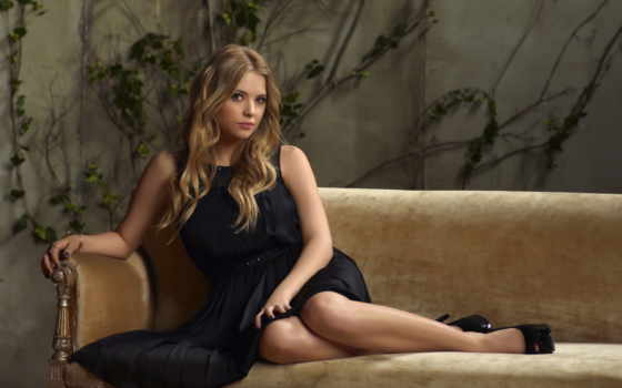девушка, ashley, blonde, benson, диван, сидит, платье, шаблон,