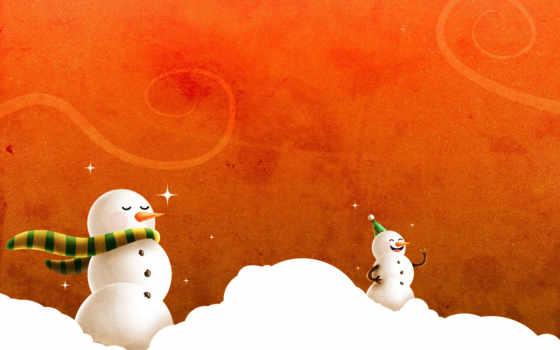 new, год, новым, годом, снеговики, открытки,