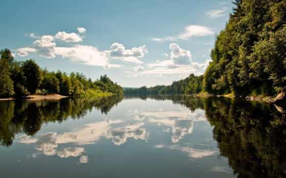 отражение, небо, озеро, oblaka, зеркальное, воде, река, лес, реке, глади,