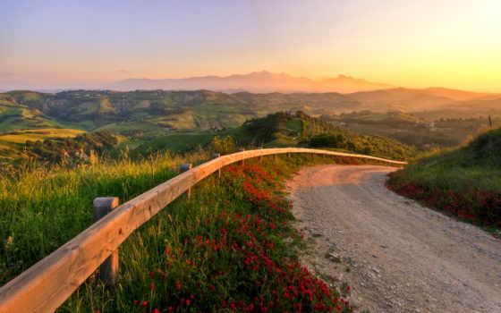 italian, природа, закат, дорога, холмы, italy, итальянские, cvety, холмистая, italia, landscape,