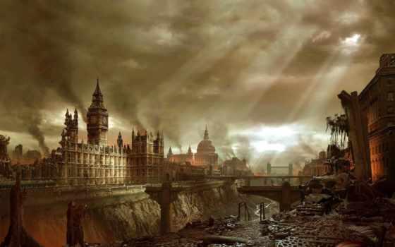 разруха, фантастика, апокалипсис, fantasy, разруха, art, город, постапокалиптич, здания, oboi, уничтожены,