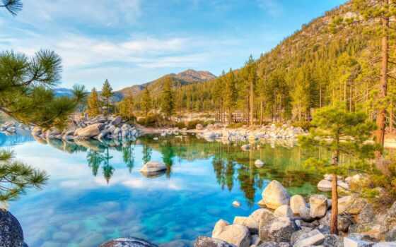 озеро, лес, trees, water, landscape, гора, осень, фотообои, отражение, сша, printcolor