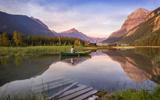 landscape, канада, природа, озеро, гора, лодка, тематика, лес, tarn