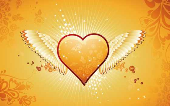 heart, wings, shaped, orange,