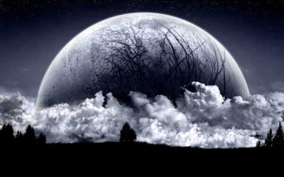 moon, dark