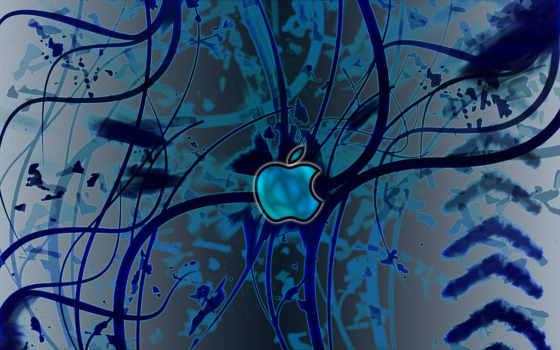 apple на тёмно-синей абстракции