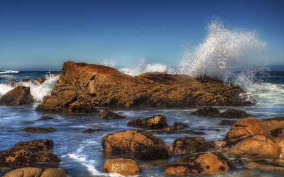 море, камни, брызги, waves, берег, pictures, pin,