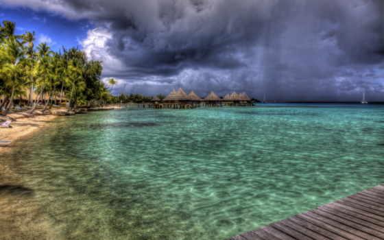 bora, пляж, море, landscape, high, desktop, пальмы, relax,