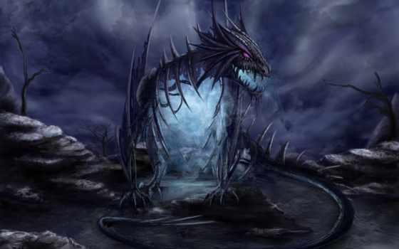 дракон, fantasy, art, драконы, дым, скалы, кости, камни, портал,