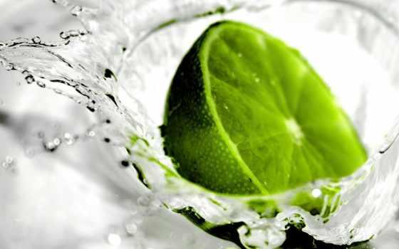 лайм, лета, аромат, glass, еда, разрезе, everything, макро, зелёный, water, брызги,