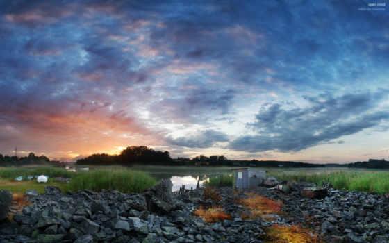 озеро, закат, категория