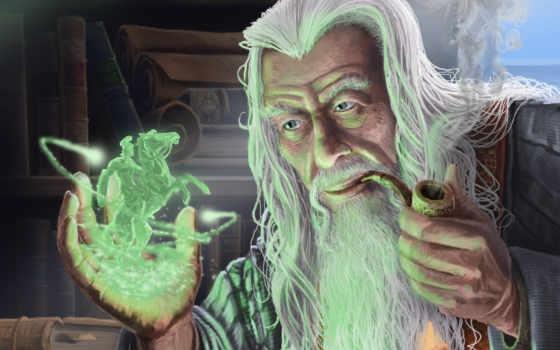 старик, art, fantasy, колдун, маг, трубка, магия,