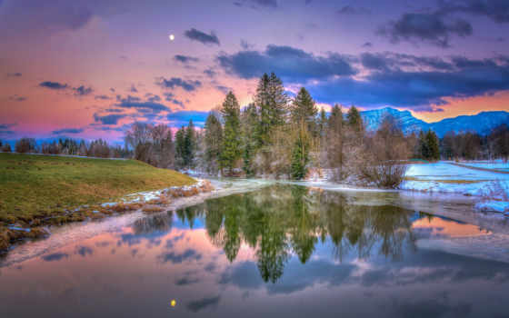 walchsee, tapety, закат, przymrozek, горы, góry, небо, rzeka, австрия, тироль, oblaka,