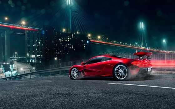 mclaren, red, суперкар, rear, свет, мост, spoiler, вулкан, суперкар,