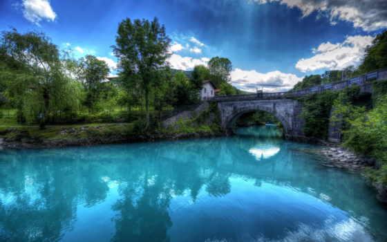 красивые, природа, небо, коллекция, hdr, trees, slovenia, река, мост,