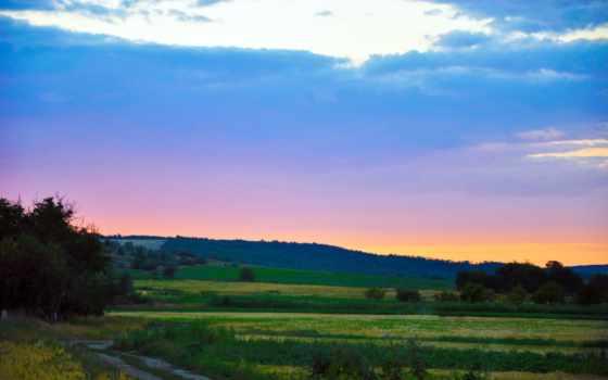 landscape, вечер, дорога, небо, проселочная, поле, безмолвие, природа, дек, serenity,