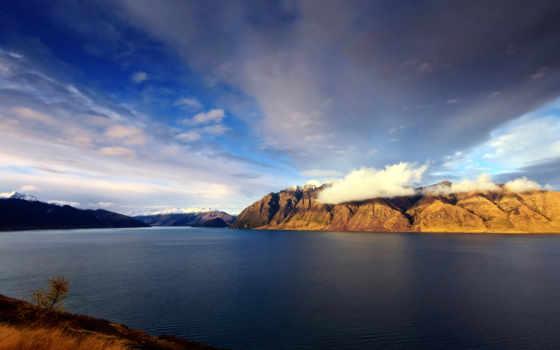природа, dual, landscape, водопады, горы, cosmos, небо, ночные,