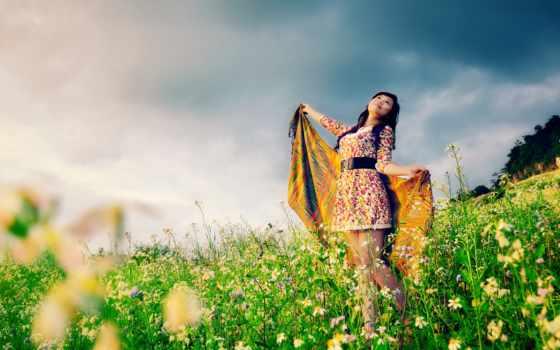 девушка, цветами, margin, поле, цветов, mobile, flowers,