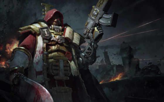 warhammer, inquisition, оружие, воин, доспех, кровь, силовая,