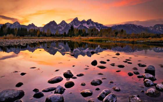 озеро, закат, горы, камни, landscape, дек, алматы,