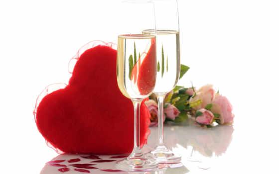 день, valentine, святого, ресторане, ресторан, влюбленных, шампанское,