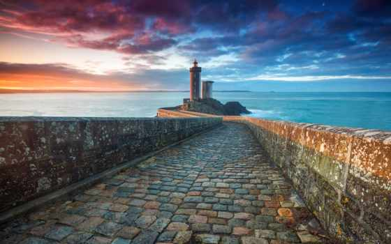 море, lighthouse, небо, landscape, sum