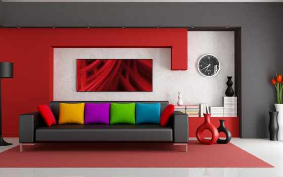 интерьер, подушки, диван, вазы, комната, design, интерьере, яркий,