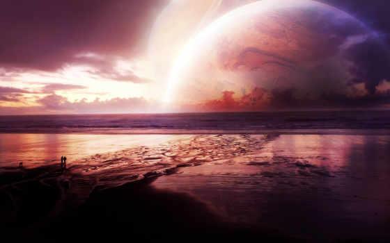 море, planet, закат