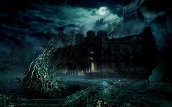 ночь, house, луна