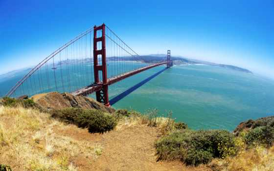 мост, san, francisco, город, золотистый, gate,