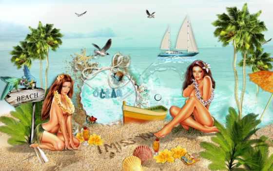 пляж, кб, девушка, airena, пляже,